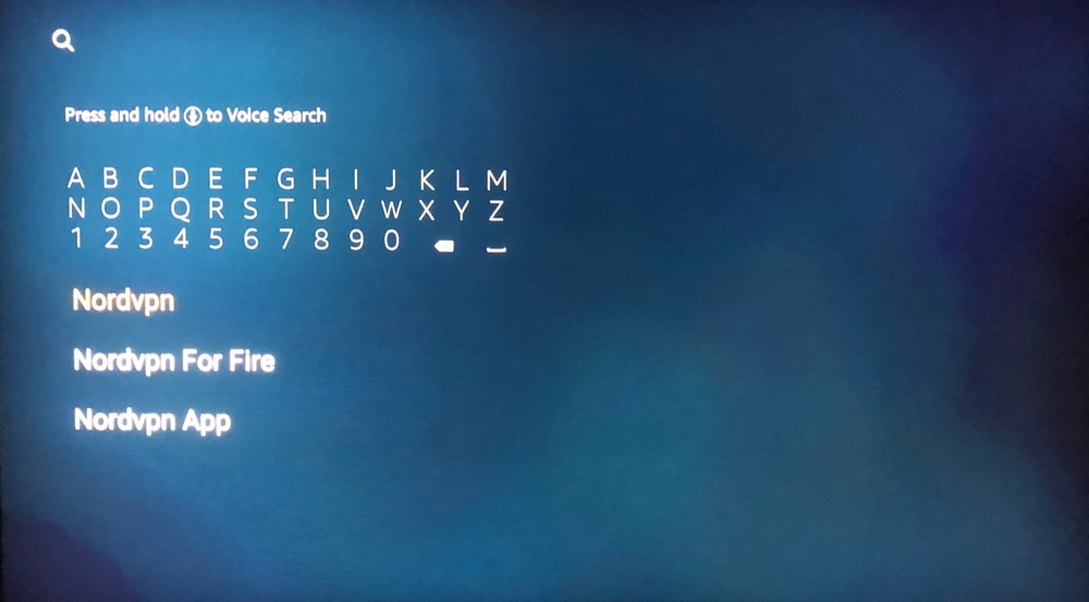 Amazon Fire Stick - Search for NordVPN