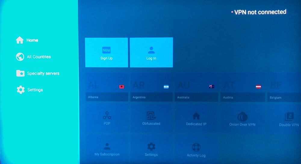 NordVPN App - Home - Fire Stick