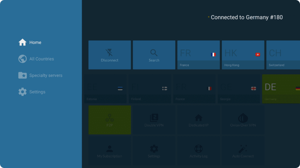 NordVPN Firestick interface