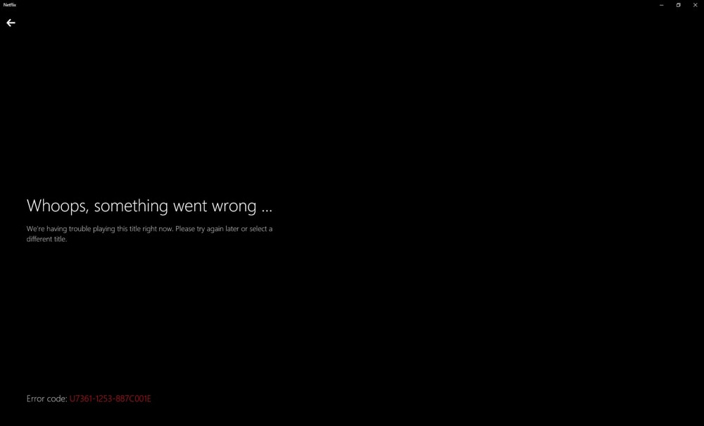 Netflix VPN Error Message