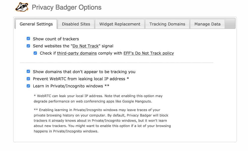 Privacy Badger General Settings Page