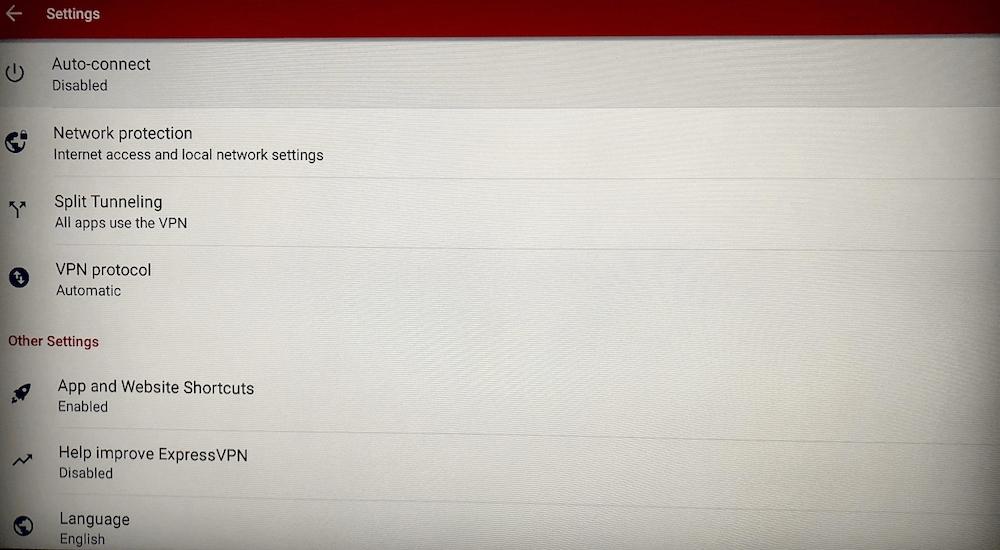 ExpressVPN settings