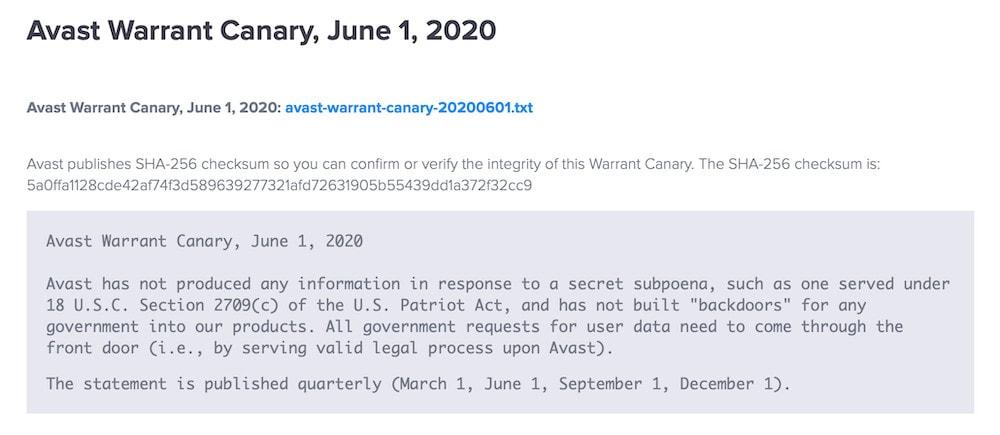 Avast Warrant Canary
