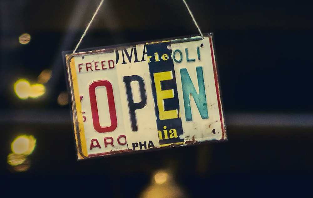 Open sign stock