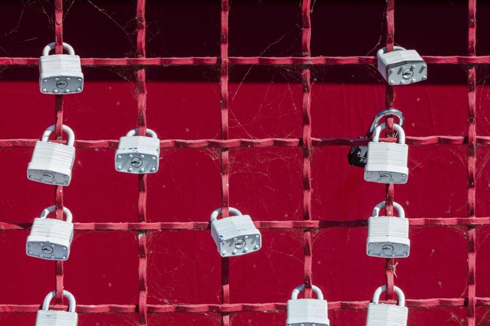 Locks on Metal Fence