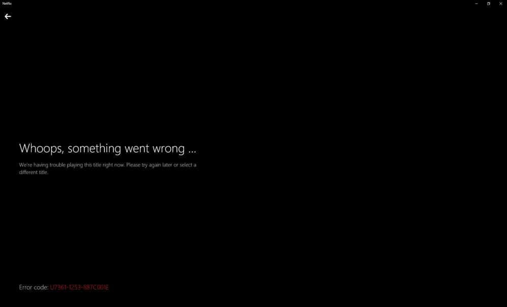 Netflix VPN Error Message